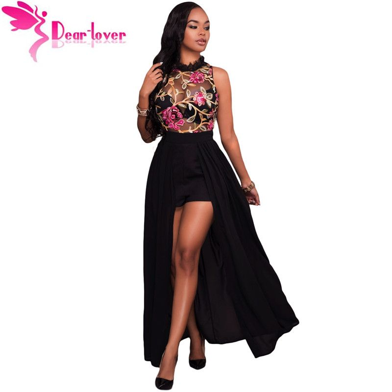 Dear-Lover Long jumpsuits Summer Short Overalls Black Sheer Mesh Embroidery Sleeveless Chiffon Club Party Womens Rompers LC64265