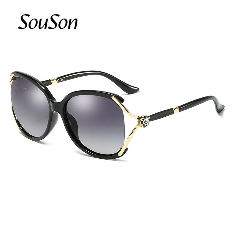 2018 Souson Brand women Sunglasses Polarized fashion oversize metal frame Sunglasses For Women with Box 4 colors available