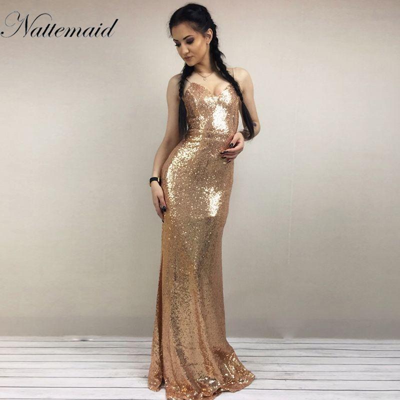 NATTEMAID 2017 Christmas night Party Dress Sexy Women Gold Sequin Long Dresses Floor length Backless Maxi Vestido De Festa