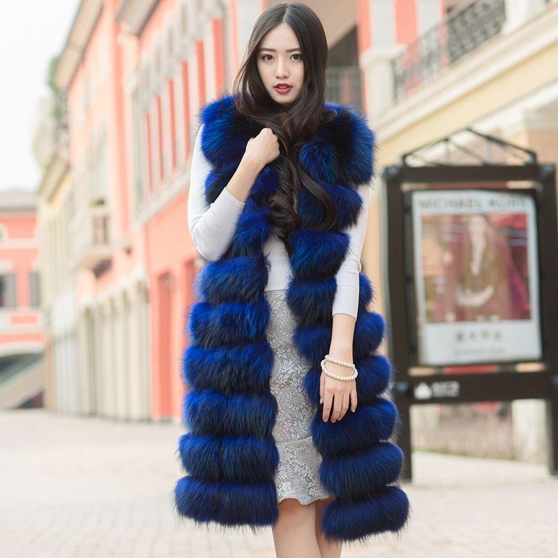 100 cm Long Genuine Real Raccoon Fur Vest Waistcoats Sleeveless Coat Outwear Blue Black Wine Purple Nature Brown Custom Make
