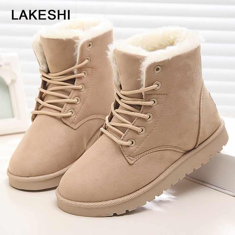Женские ботинки зимние ботильоны высокого качества теплые короткие плюшевые меховые замши женская обувь на шнуровке