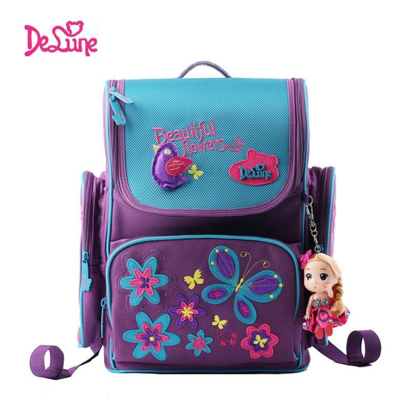 Delune Brand Kids Cartoon School bags safe Orthopedic children school Backpack For Girls School Bags For 1-3 Grade class Student