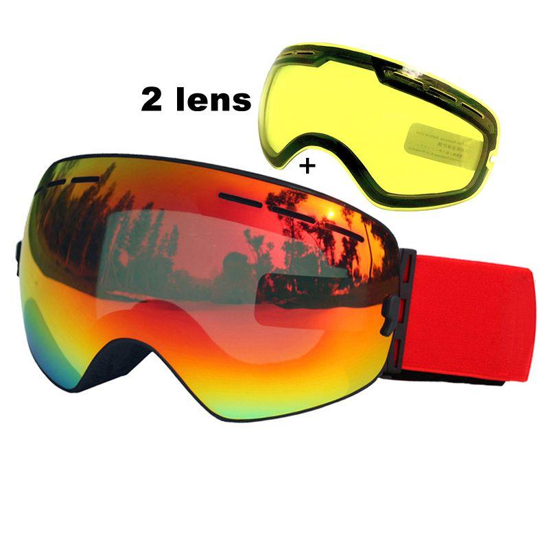 Двойные Линзы Горнолыжные очки Анти-туман UV400 сферические лыжные очки лыжи снег сноуборд очки лыжные очки яркости объектива