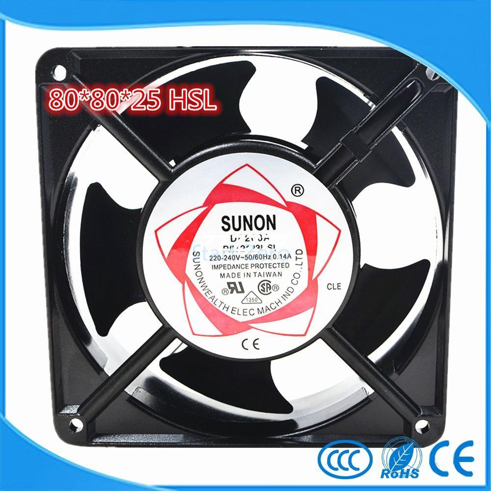 SUNON SF 8025 AT /  AC 220  Axial flow fan 2082 HSL Industrial Cooling Fan 2 Wires 80*80*25mm Copper