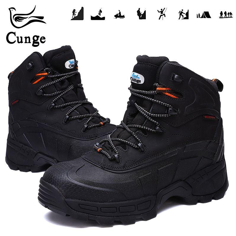 Mann der Sicherheit Schuhe für Stahl Kappe Wandern Stiefel Männer Wasserdichte Arbeits Schutz Stiefel Anti-Kollision Jagd Schuhe mit eisen Blatt