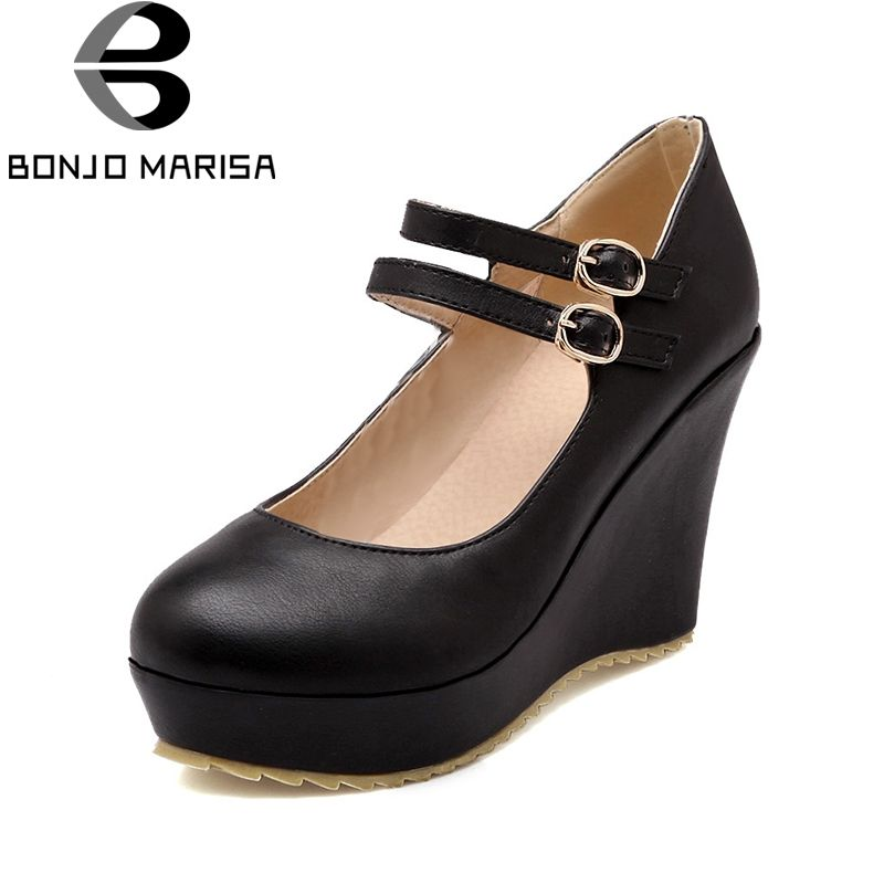 BONJOMARISA 2018 Large Sizes 34-43 Wedge High Heels Black White Pumps Women Shoes Platform Wedding Pumps Woman Shoes