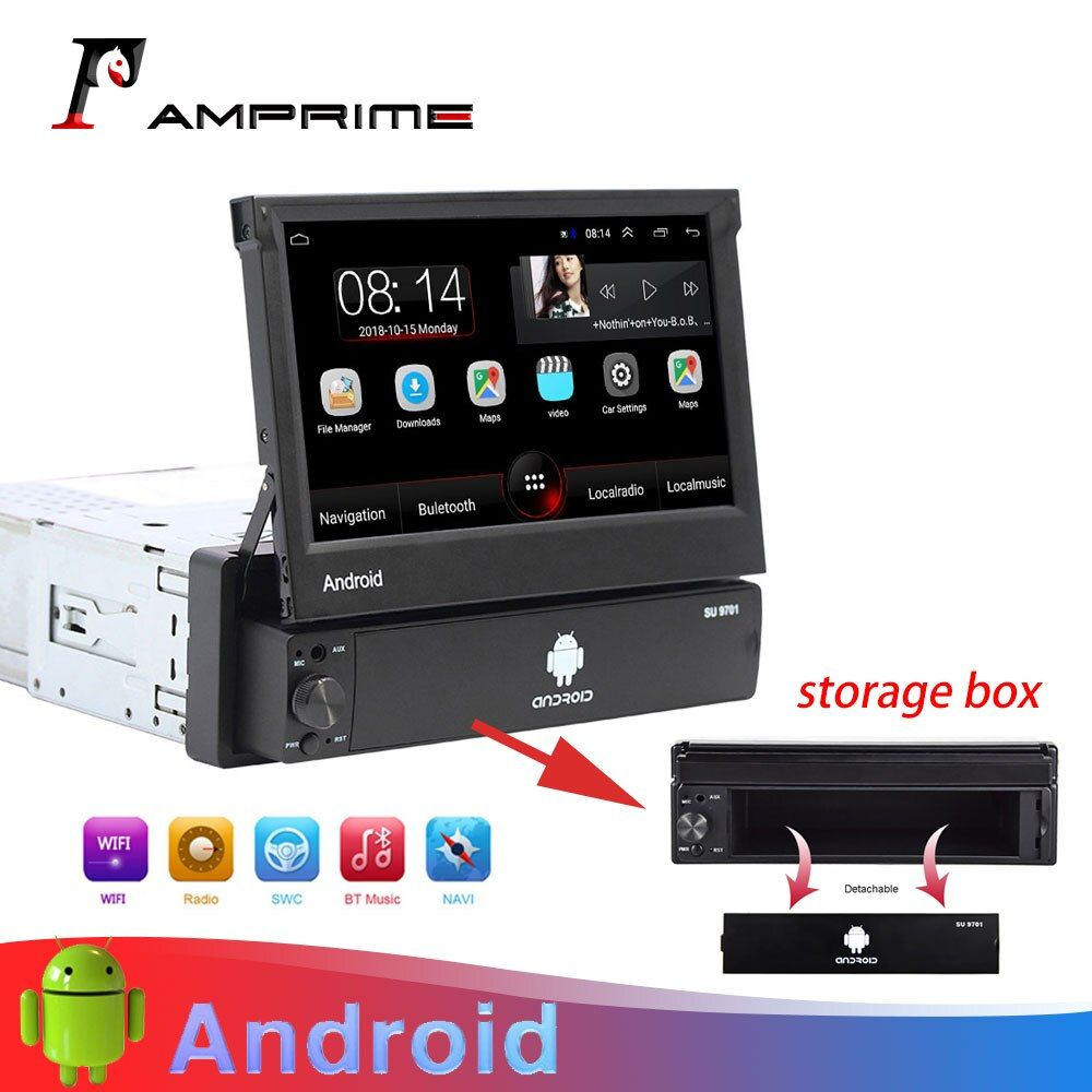 Autoradio Android AMprime 1 Din 7 ''écran tactile lecteur multimédia de voiture Navigation GPS Wifi Auto MP5 Bluetooth USB FM