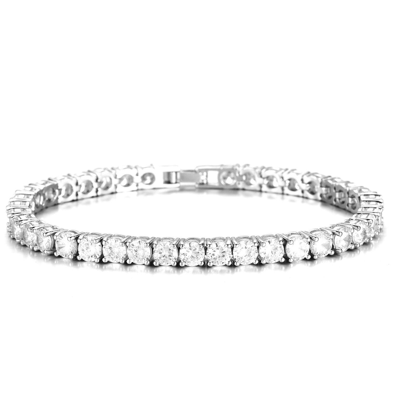 5mm rond coupe cubique zircone femmes hommes bijoux 19 cm 21 cm mariage couple tennis broche CZ bling bracelet glacé style