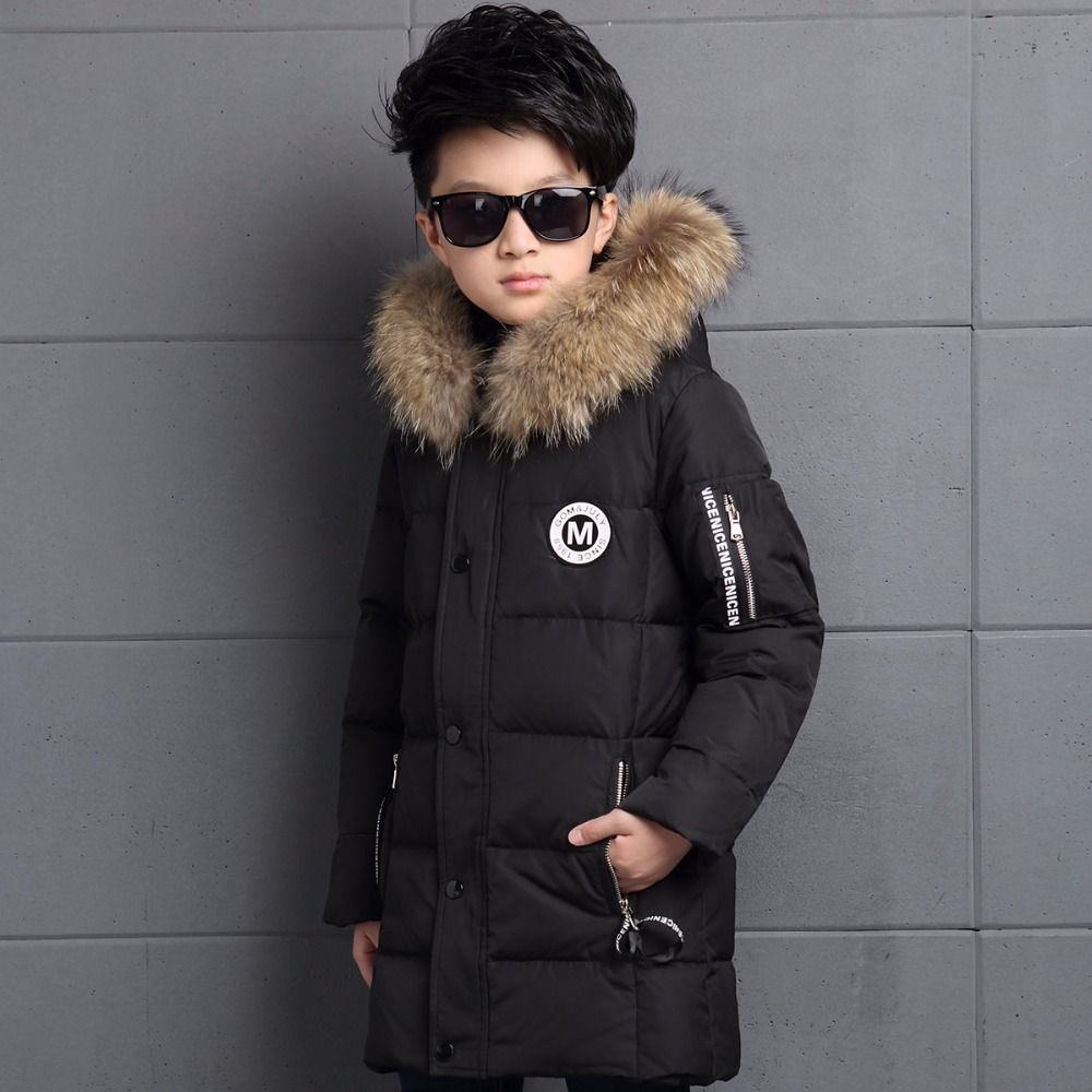 6-12Y Children's Down Jacket Long Thick Boy Winter Coat Duck Down Kids Winter Jackets for Boy Outerwear Fur Collar