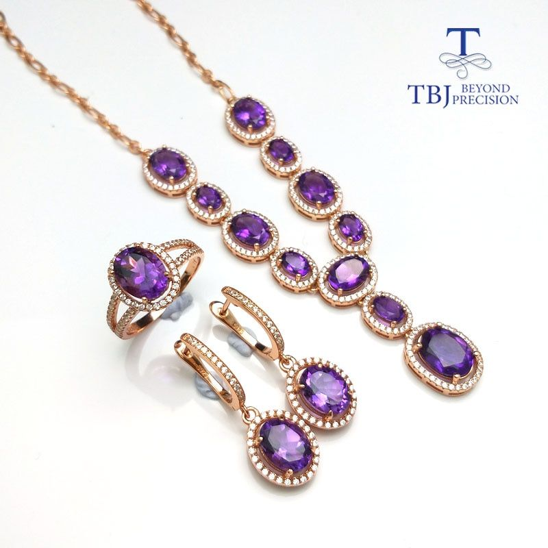 TBJ,Simple classic Jewelry set necklace ring earring with natural amethyst gemstone in 925 silver special jewelry gift for women
