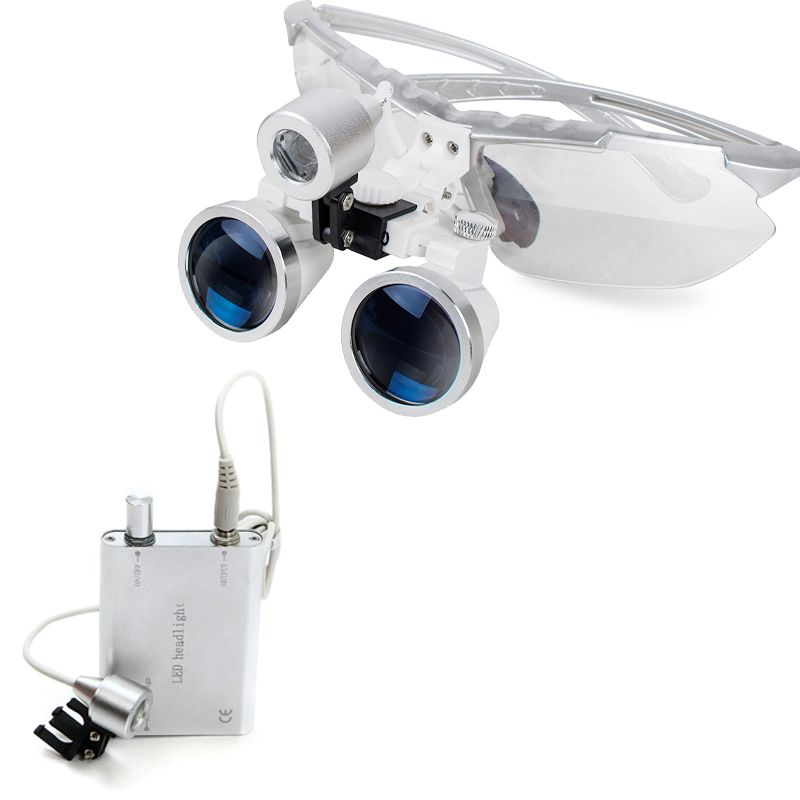 Silver Dental Surgical Binocular Loupes 2.5X Optical Glass 320+LED Head Lamp light