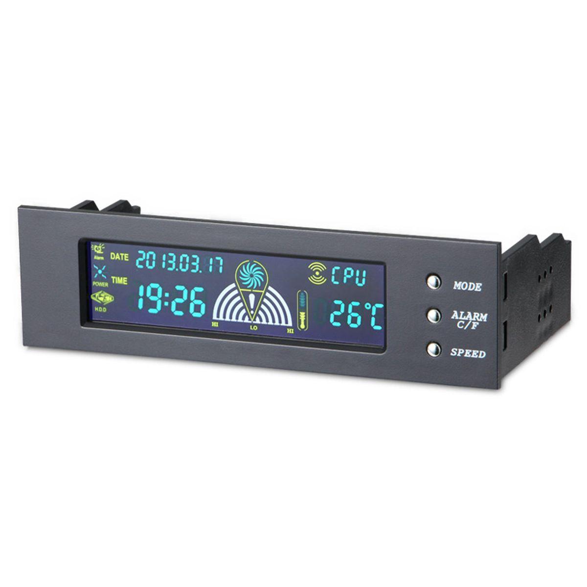 5.25 pouces 5-12 V PC Ordinateur Contrôleur de Ventilateur 3 Fan Speed Controller Température Capteur LCD Numérique Affichage Avant panneau pour PC