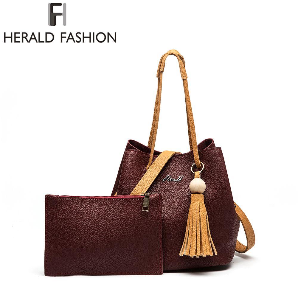 Herald Mode Nouveau Cordon Seau Sac Femmes Sac De Mode PU En Cuir de Femmes Sacs À Main Bolsas Fourre-Tout Sac D'épaule Des Femmes