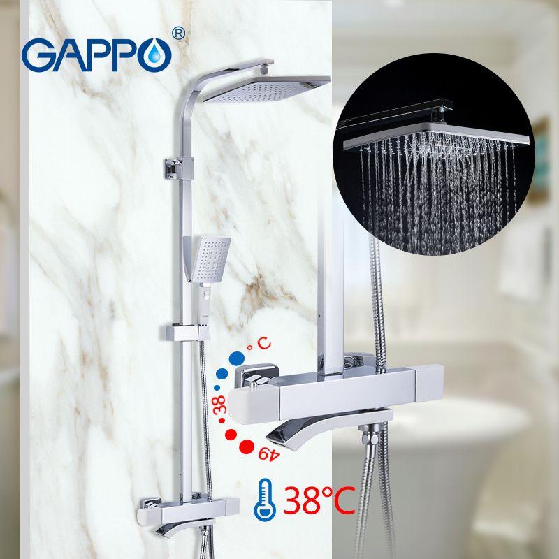 GAPPO ensembles de douche thermostatiques robinet de douche de salle de bain mélangeur chaud et froid robinet en laiton baignoire système de douche mitigeur thermostatique