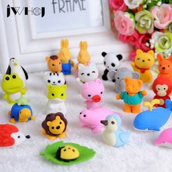2pcs/lot  24 design Cute Cartoon animal rubber eraser kawaii stationery school supplies papelaria gift toy for kids penil eraser
