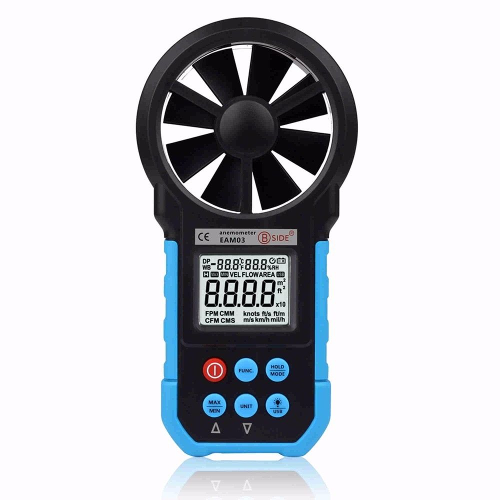 High Accuracy Precision Portable Multi-function Anemometer Hygrometer Wind Speed Meter EAM03 USB Data Temperature Humidity Meter