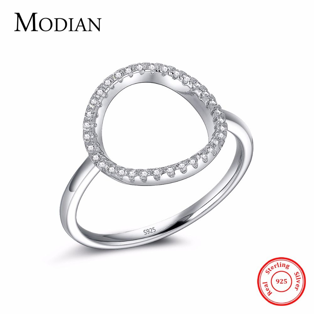 Classic Fashion Hollow out Hoop Sparkling White And Rose Ring Cubic Zirconia Jewelry Real Solid 925 Sterling Silver Rings