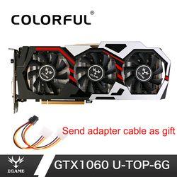 Красочные NVIDIA GeForce iGame GTX1060 6 GB GPU GDDR5 192bit PCI-E VR готовая 1060 видеокарта DVI + HDMI + 3 * DP для ПК Игр
