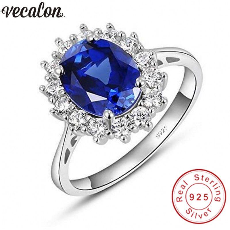 Vecalon Fine Bijoux 100% Réel 925 En Argent Sterling anneau 5A bleu Zircon Cz Diana Engagement wedding Band anneaux pour les femmes de mariée