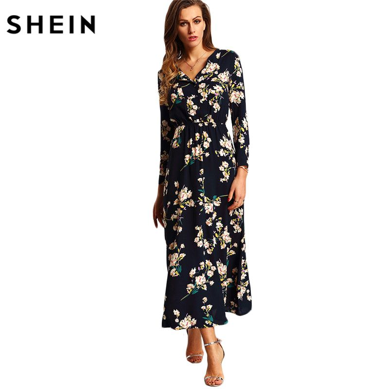 SHEIN New Arrival Boho Women Maxi Dresses Navy V Neck Long Sleeve Womens Elegant With <font><b>Button</b></font> Floral Long Party Dress