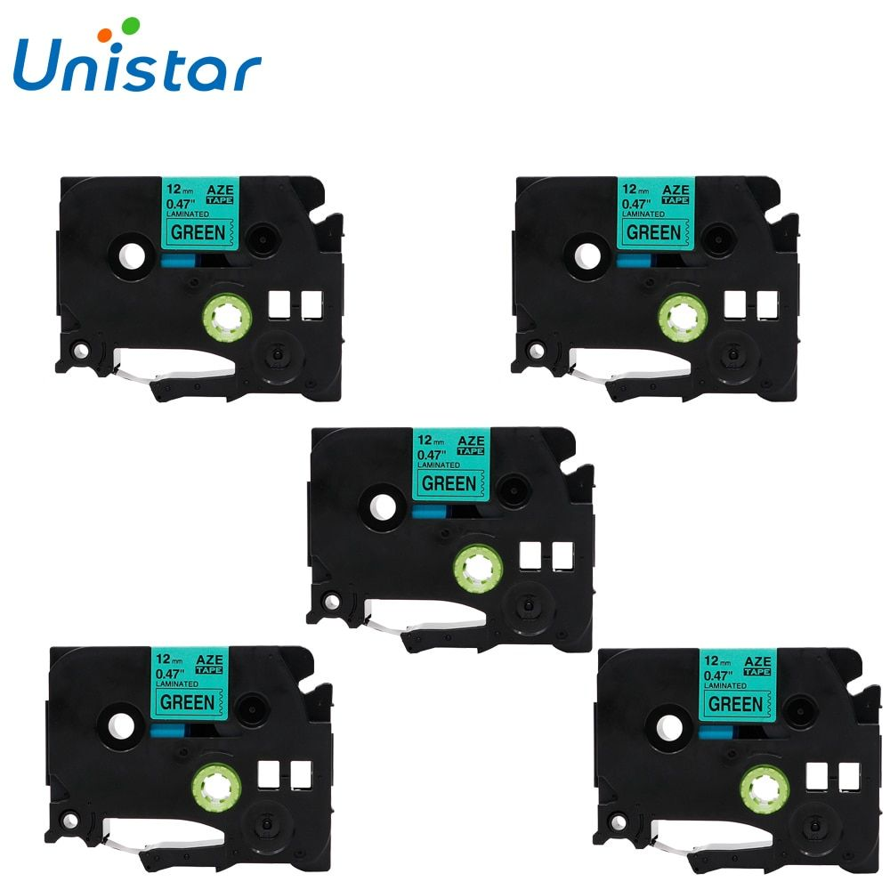 UNISTAR 5PCS Compatible Brother P touch Tape 12mm Black on Green Labels Ribbons Tape for Brother p-touch TZ Tape TZe-731 TZe731