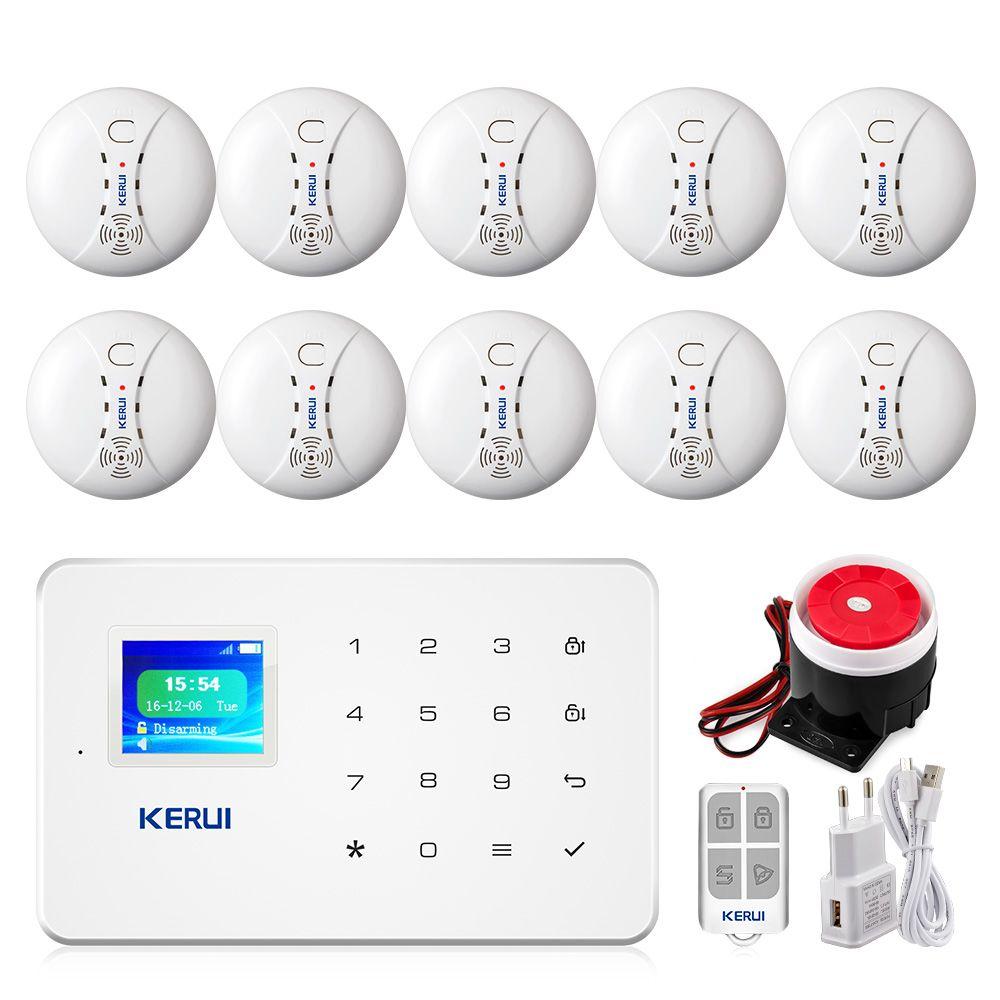 KERUI G18 Smoke Alarm System Fire Protection SMS APP Control GSM Burglar Alarm System Security Protection Sesor Alarm