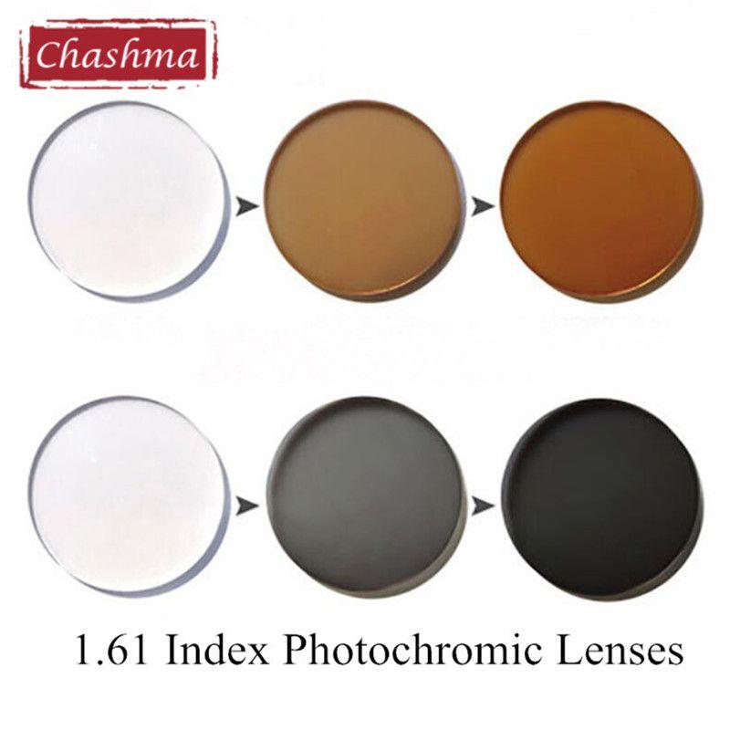 Chashma 1.61 indice verre photochromique Anti réfléchissant UV Anti rayures Transition gris et marron caméléon lentilles pour les yeux