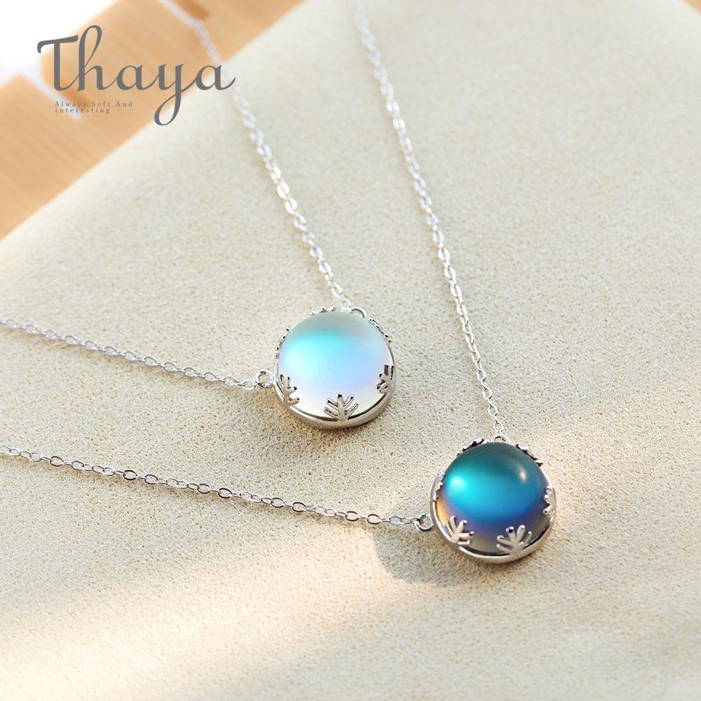 Thaya 55 cm Aurora Pendentif Collier Halo Cristal Précieuses s925 Argent Échelle Lumière Collier pour les Femmes bijoux élégants Cadeau