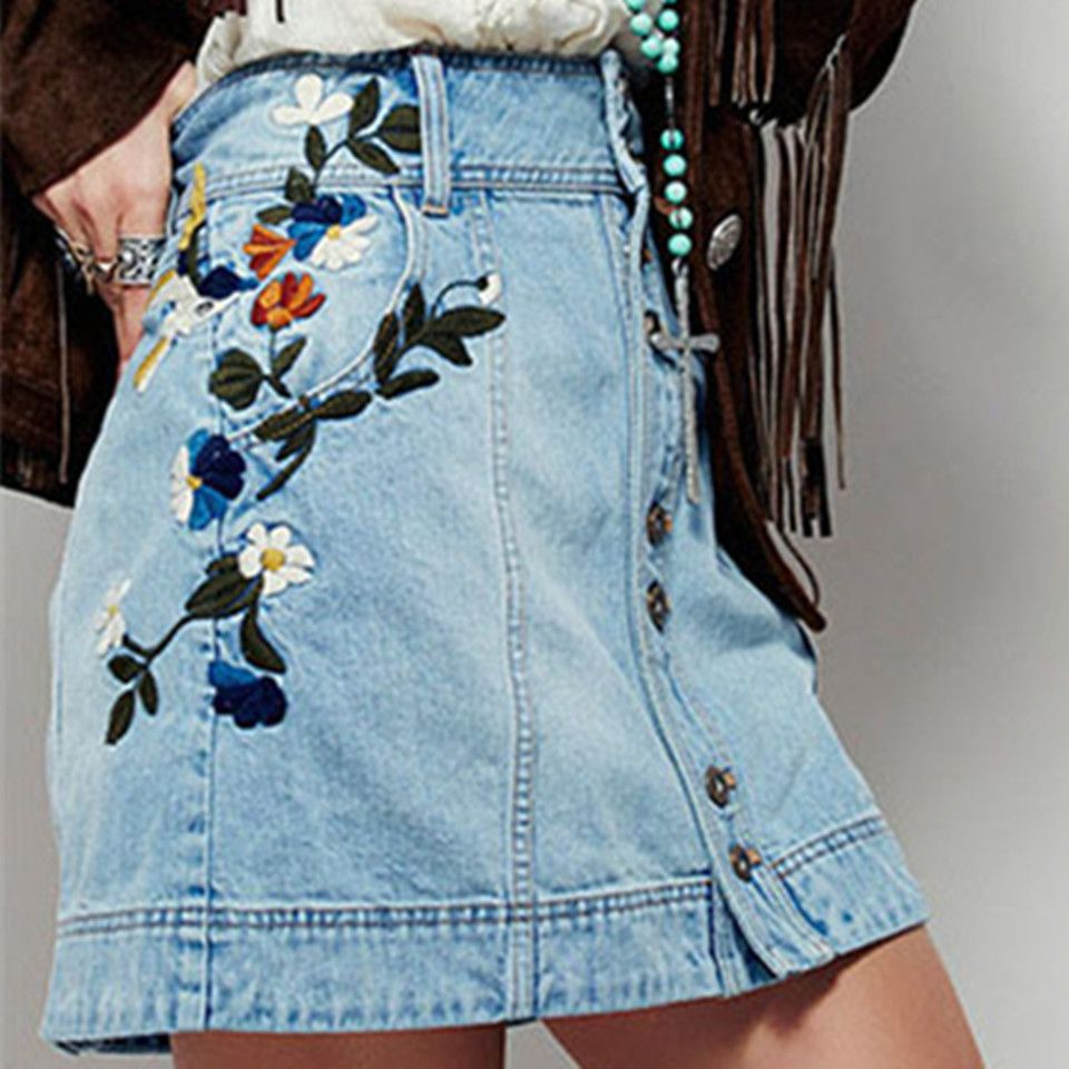 Summer Jeans Skirt Women A-line Skirts Vintage High Waist Skirt Slim Button Embroidery Casual Female Mini Denim Skirts Bottoms