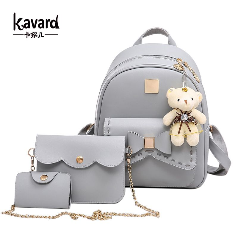 Kavard Fashion Backpack Women Pu Leather Back Pack Famous Brand School Bags for Girls sac a dos femme with Purse and Bear 2017