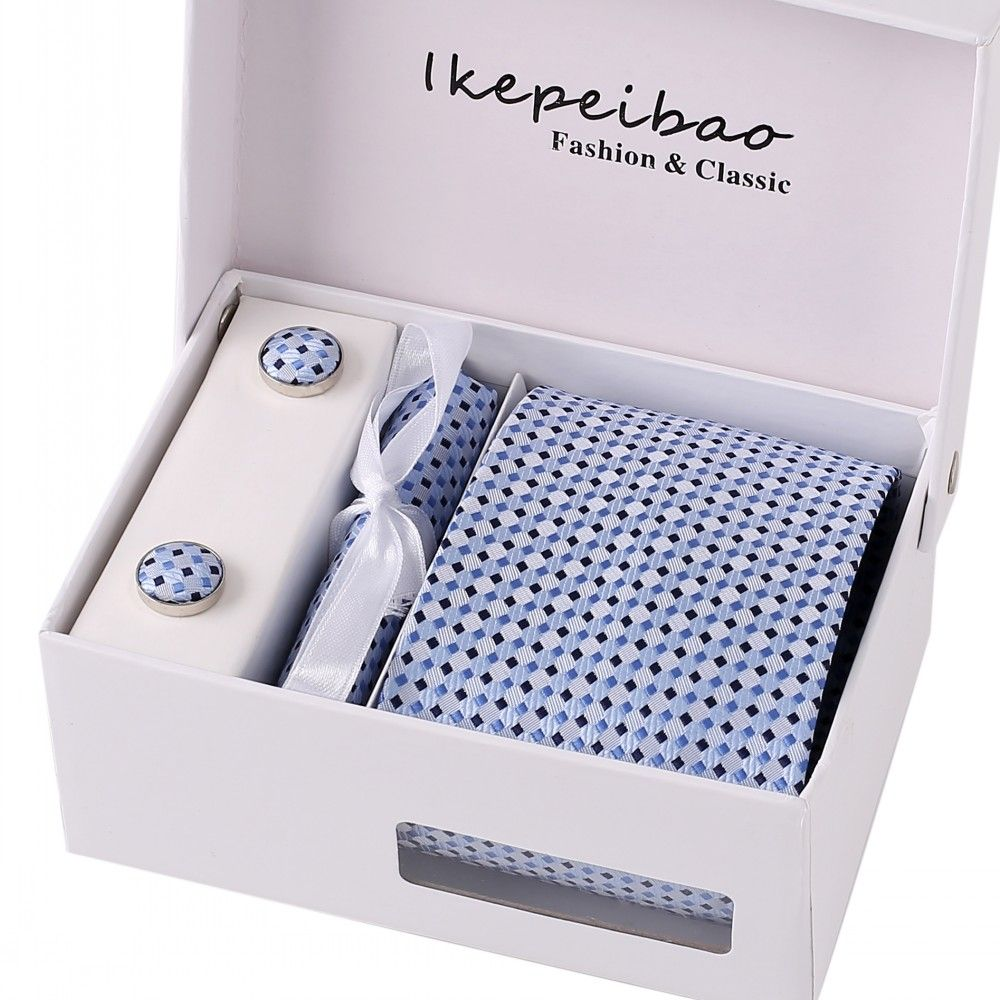 Ikepeibao Brand New Male Tie Set Necktie Polyester Handmade Classic Dress Necktie Set Gift Box Packing Blue Dots Free Shipping
