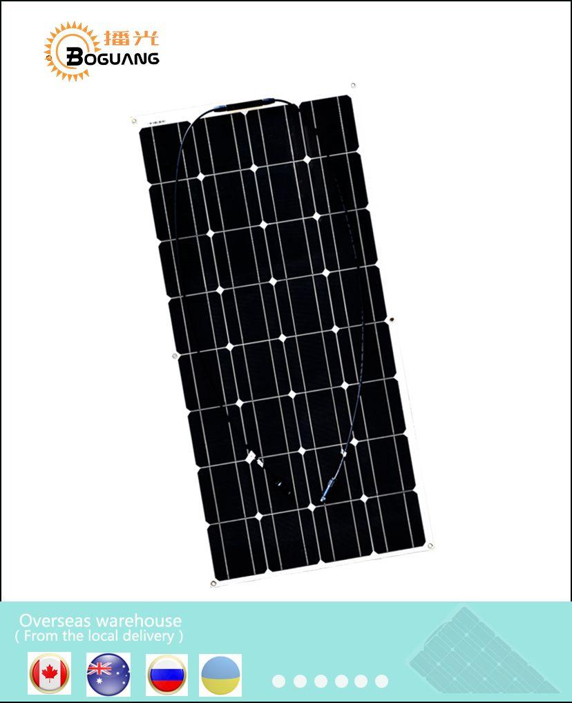 Boguang 100 Watt Monocrystalline semi flexible Photovoltaic plate Solar panel 16v 100W cell kits 12V 12 Volt Charging batteries