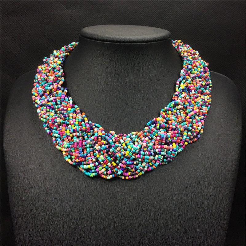 Acrylique Perles collier bohémien Femmes Large colliers ras De cou De Perles De Mode Main Strand Boho Bijoux Collares De Acrilico