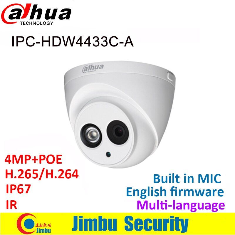 Dahua IP Caméra 4MP IPC-HDW4433C-A IR30 Mini Caméra POE starlight H265 H264 MICRO Intégré cctv réseau multiples langue dôme