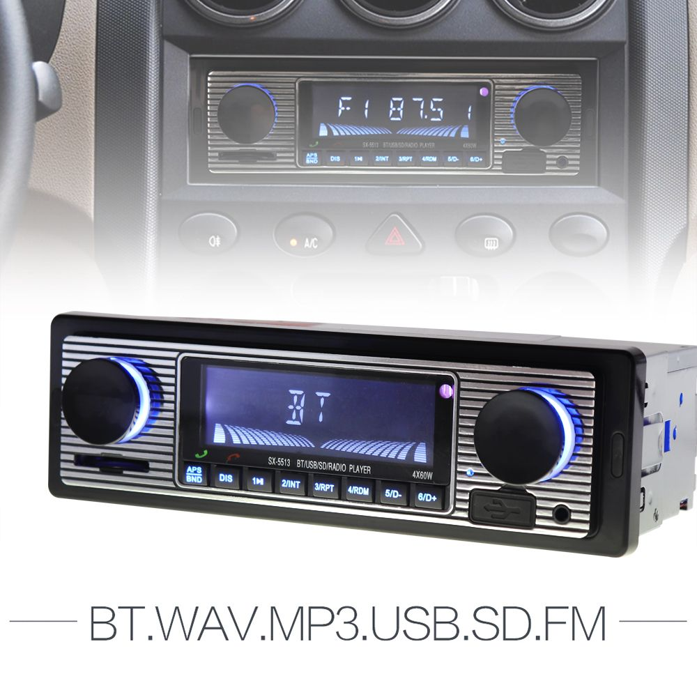 12V Bluetooth Auto Car Radio 1DIN Stereo Audio MP3 Player FM Radio Receiver Support Aux Input SD USB MMC + Remote Control