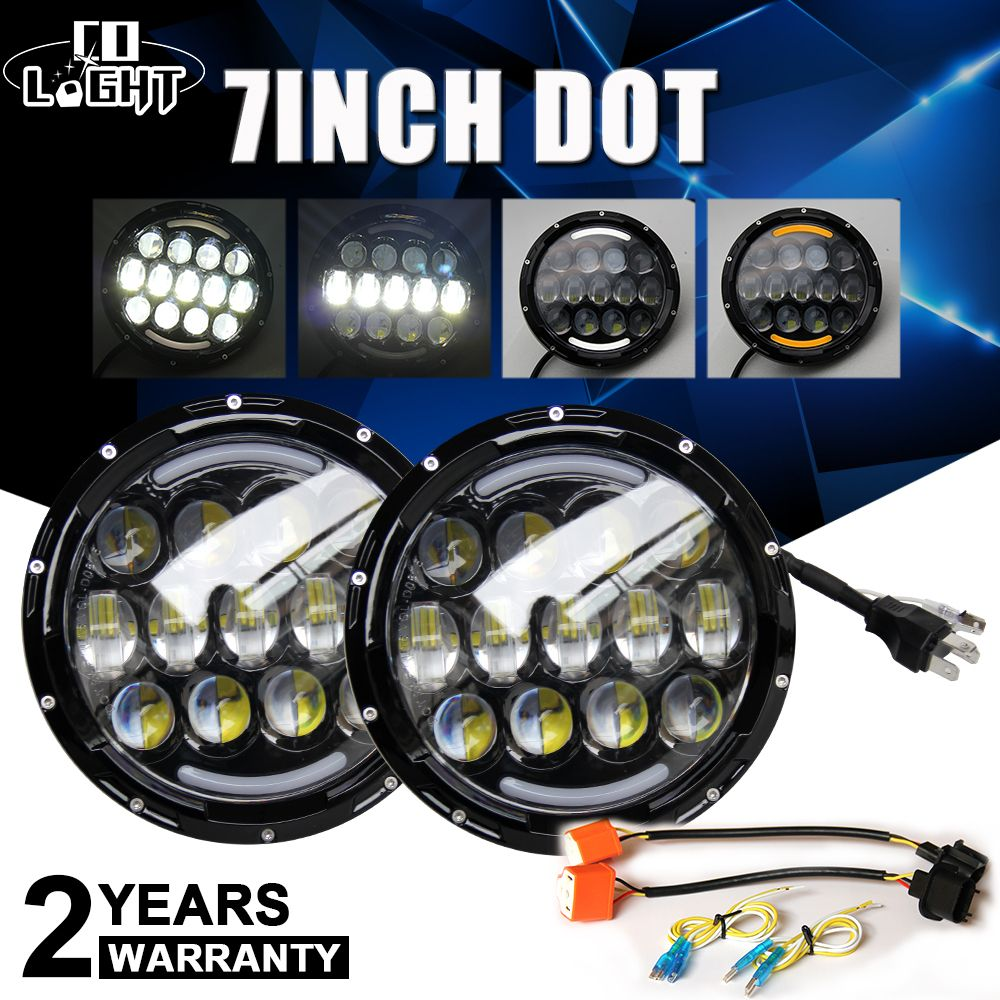 CO LIGHT 105W Head Light 7Inch Headlight Niva Angel Eyes Turn Signal Light for Off Road Lada 4X4 4Wd Hummer Land Rover 9-30V