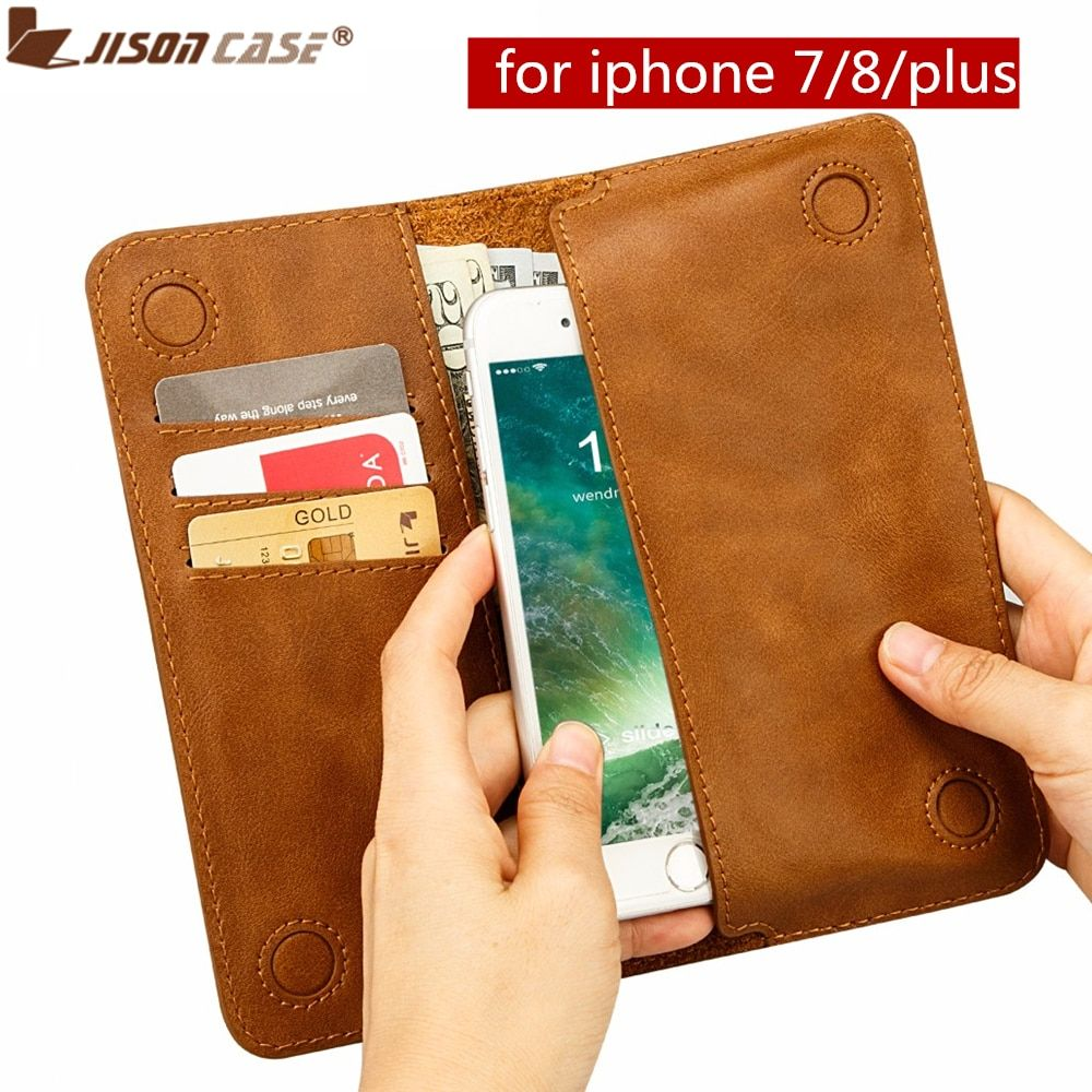Jisoncase Genuine Leather Wallet Case for iPhone 7/8 4.7 with Card Slot Fashion Luxury Pouch Cover for iPhone 7/8 Plus 5.5
