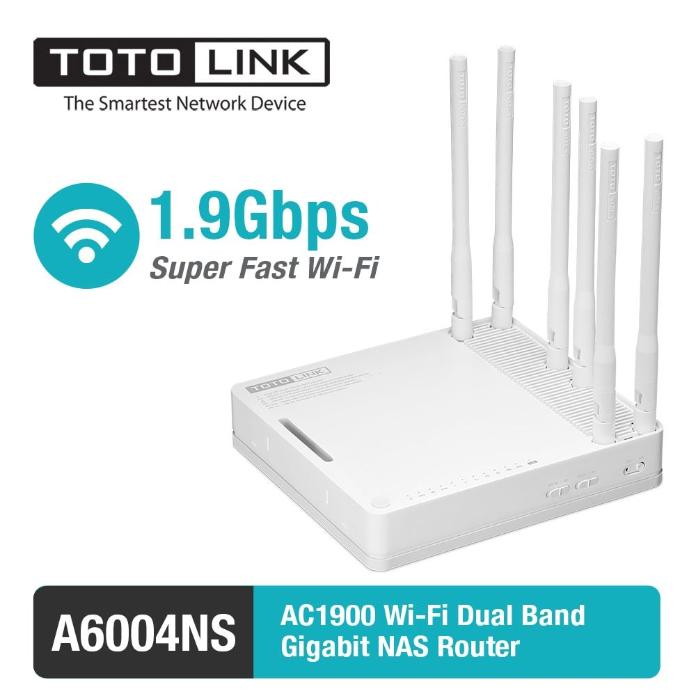 TOTOLINK A6004NS AC1900 Dualband Gigabit WiFi Router/Access Point/WiFi Repeater mit 6 Abnehmbare Antennen, englisch Firmware