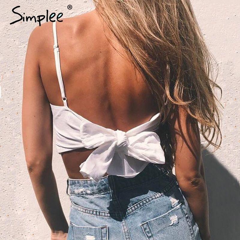 Simplee ремень на шнуровке майка на бретелях футболки женские летние пляжные лук женские Cami Crop Top Sexy спинки рукавов короткий топ