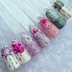 1 шт. слайдер наклейки для ногтей градиентные наклейки Лотос фиолетовый цветок лоза дизайн для ногтей водяной знак татуировки украшения ...
