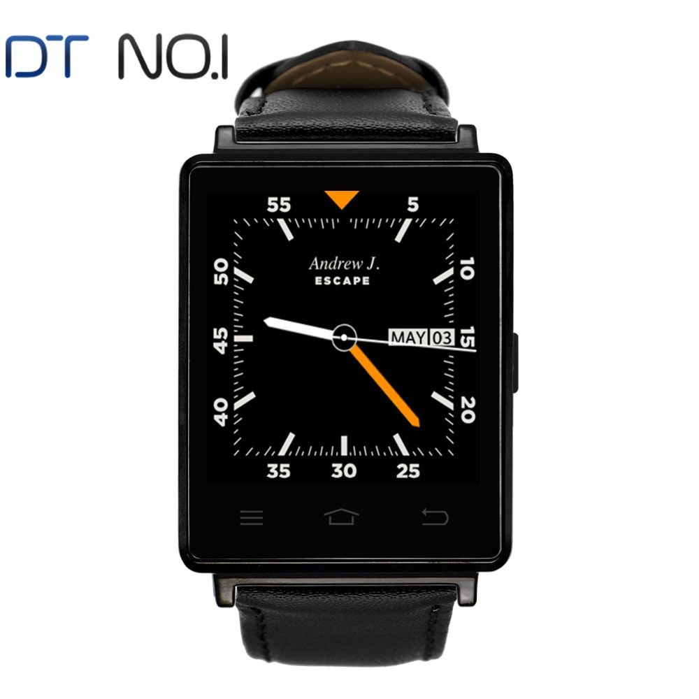 DTNO.1 D6 Smartwatch 1.63 Inch Android 5.1 MT6580 GPS WiFi Bluetooth 4.0 Quad-Core 1G 8G Heart Rate Monitor for Android and IOS