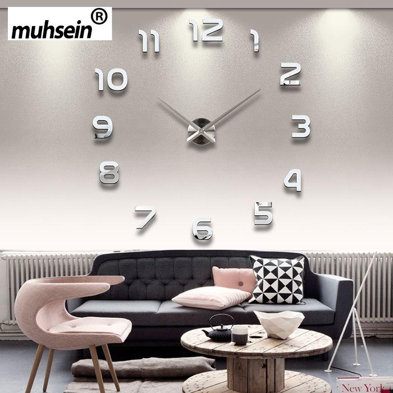 2017 Nouveau Metall Moderne 3D DIY Horloge Murale Acrylique + EVR + Métal Miroir Décoration de La Maison Super Grand 130 cm x 130 cm Usine Freeshipping