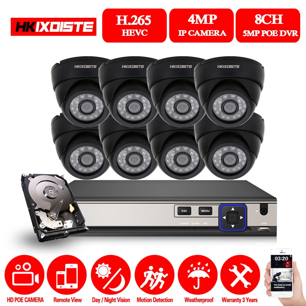 HKIXDISTE HD NVR 8CH 5.0MP POE CCTV Kamera System Kits 4MP Schwarz Dome IP Kamera POE Home Security Video Überwachung set 2 TB HDD