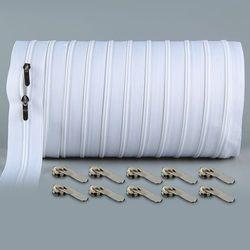 10 mètres Zipper #3 Blanc Couette zipper Nylon coil fermetures à glissière pour la couture en gros Double Curseurs Extrémité Fermée À Coudre Craft