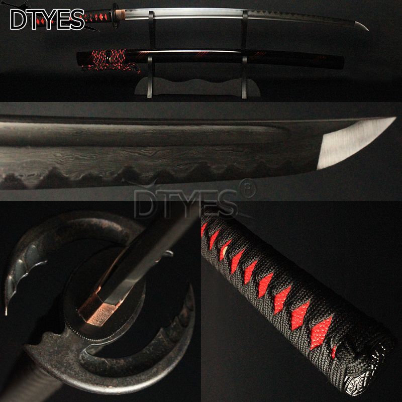 Real Japanese Samurai Sword Damascus Steel Clay Tempered Wave Hamon Full Tang Bo-hi Shinogi Zukuri Blade Katana Battle Ready