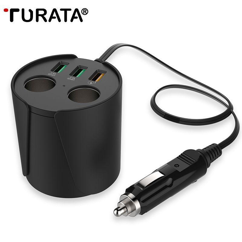 TURATA charge rapide QC3.0 chargeur de voiture 3-USB Ports 2-Prise allume-cigare 12 V/24 V DC support de verre adaptateur secteur