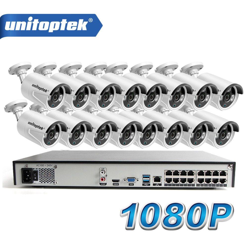 16 Pcs HD 1080 P Gewehrkugel Ip-kamera Im Freien Nachtsicht Wasserdichte 16CH POE CCTV NVR System P2P View Home sicherheit Überwachung Kit