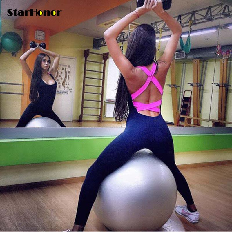 StarHonor One Piece Sexy Gym Fitness Clothing Suit Quick Drying Elastic Fitness Tights <font><b>Running</b></font> Tight Jumpsuits Sports Yoga Sets