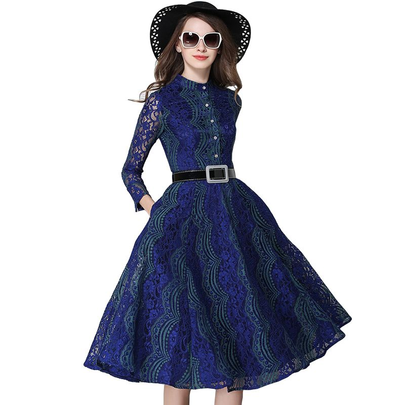 Robe Tunique Belted Fit And Flared Stand Collar Hollow Out Long Sleeve Lace Dress Women Jurken Vestidos Encaje Mujer 2017
