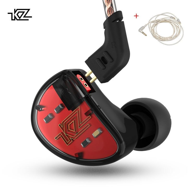 KZ AS10 Headphones 5BA Balanced Armature Driver HIFI <font><b>Bass</b></font> Earphones In Ear Monitor Sport Headset Noise Cancelling Earbuds